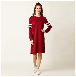 e4e2a6f5c37f Miss Chase Women s Maroon Round Neck Full Sleeve Solid Knee-Long Panelled  Shift Dress
