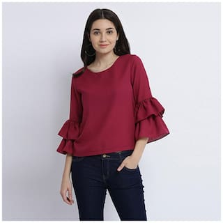 Miss Chase Women Solid Regular top - Red