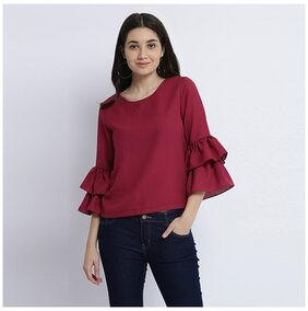Miss Chase Women's Magenta Round Neck Full Sleeve Solid Frilled Ruffled Top