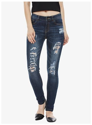 Miss Chase Women's Navy Blue Skinny Fit High Rise Regular Length Mild Distressed Ripped Denim Stretchable Jeans