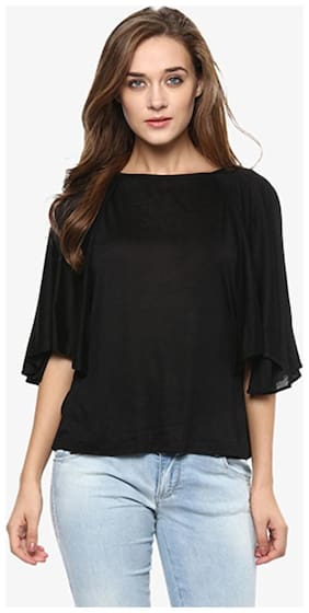 Miss Chase Women's Black Solid Half-Sleeve Round Neck Layered Tops