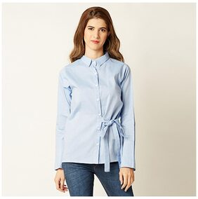 Miss Chase Women Regular Fit Solid Shirt - Blue