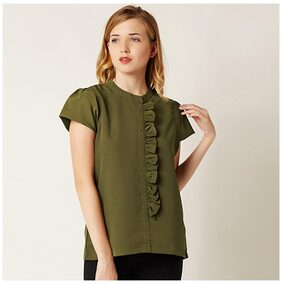 Miss Chase Women's Olive Green Round Neck Cap Sleeves Ruffled Top
