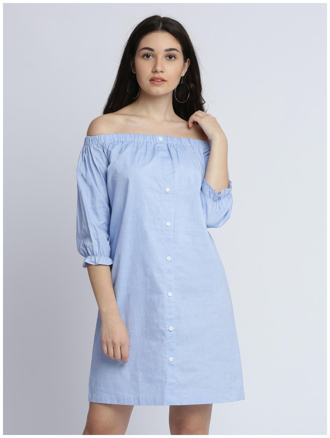 Miss Chase Women's Blue Solid Off Shoulder 3/4 Sleeve Gathered Buttoned Bardot Style Mini Dress