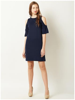 Out Neck Navy Women's Blue Chase Cut Dress Round Sleeve Half Mini Solid Shoulder Miss P6w0qq