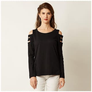 Miss Chase Women's Black Cotton Round Neck Full Sleeve Solid Cut-Out Top