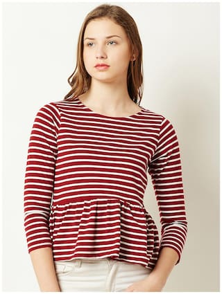 Miss Chase Women Polyester Striped - A-line Top Multi