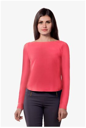 Miss Chase Women's Coral Boat Neck Full Sleeves Cut Back Slit Top
