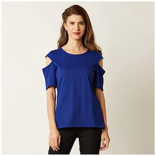 Miss Chase Women's Cobalt Blue Round Neck Half-Sleeve Solid Shoulder Cut-Out Top
