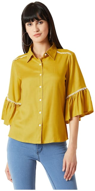 Miss Chase Women Yellow Solid Regular Fit Shirt