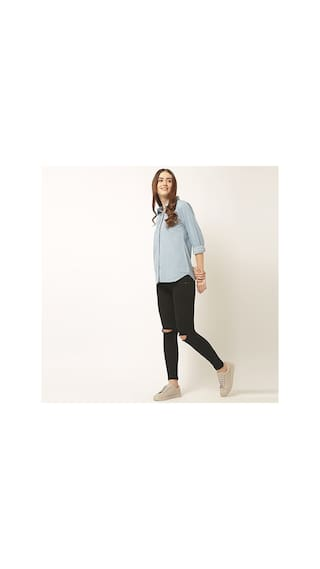 Round Neck Collared Shirt Chase Sleeve Denim Full Light Buttoned Solid Miss Women's Blue 6XIxqpwA