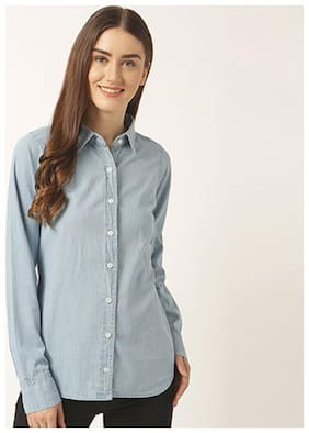Miss Chase Women's Light Blue Round Neck Full Sleeve Solid Buttoned Collared Denim Shirt
