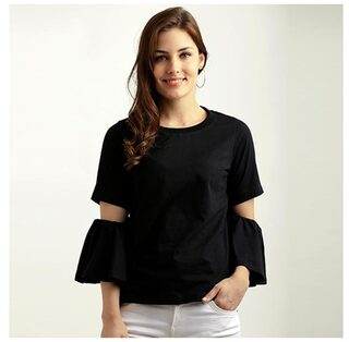 Miss Chase Women Cotton Solid - A-line Top Black