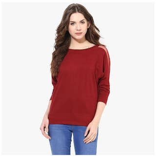 Miss Chase Women Cotton Solid - Regular Top Red