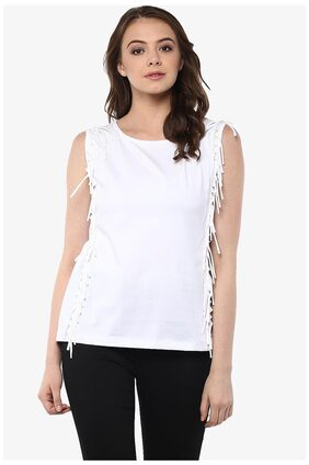Miss Chase Women's White Round Neck Sleeveless Solid Fringe Top