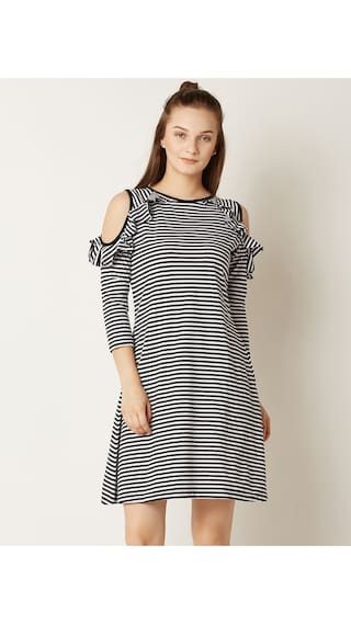 Miss Chase Women's Black and White Cotton Round Neck 3/4 Sleeve Striped Cold Shoulder Mini Shift Dress