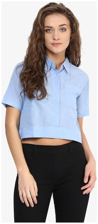 Miss Chase Women's Blue Collar Neck Half Sleeves Solid Basic Crop Top