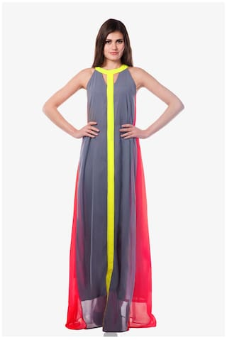 Maxi Miss Sleeveless Chase Women's Flowy Colorblock Dress Multicolor Af77HFc