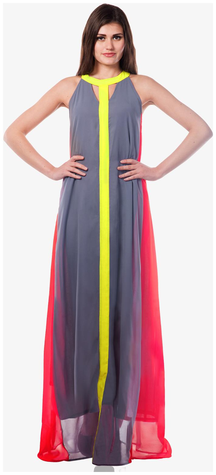 Miss Chase Women's Multicolor Sleeveless Colorblock Flowy Maxi Dress