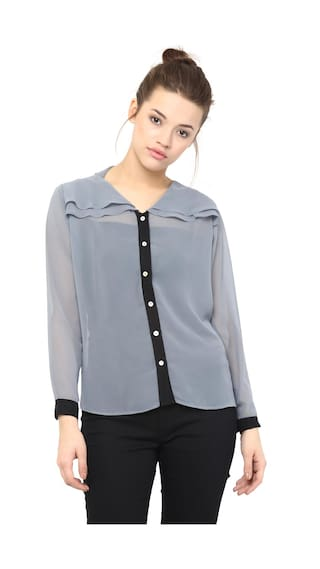 Shirt Sleeves Grey Full V Women's Miss Top Layered and Black Neck Sheer Chase x6wfqfF