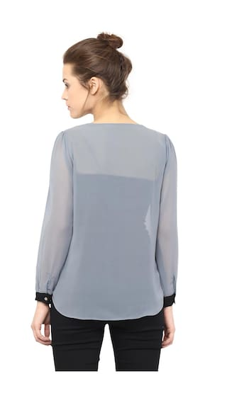 Top Shirt Women's Grey Miss Sleeves Sheer Neck Chase Full V Black and Layered 7xwPa5q