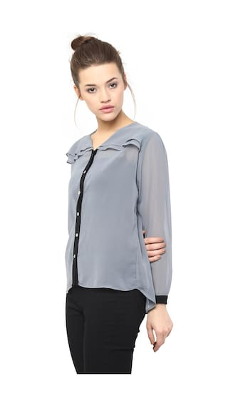 Miss Layered Neck Full Chase Sheer Sleeves Black Top V Grey Women's and Shirt rfBqzwrY