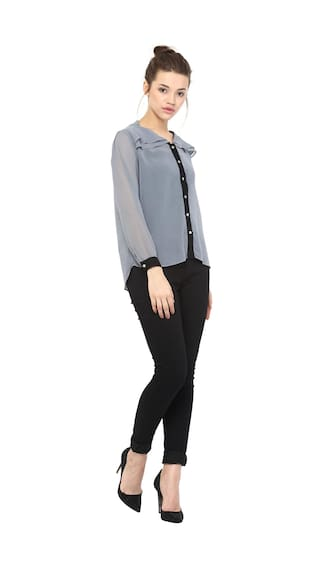Full Layered Neck Women's Chase Top Shirt V Black Sleeves and Grey Miss Sheer n0HwqzAA