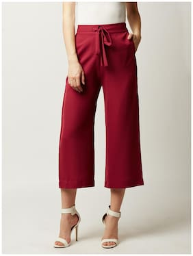 Miss Chase Women Flared Fit Mid Rise Solid Pants - Maroon