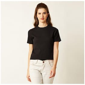 Miss Chase Women's Black Round Neck Short Sleeves Solid Ribbed Top