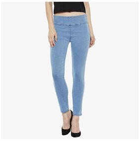Miss Chase Women's Light Blue Super Skinny Fit High Rise Acid Wash Regular Length Denim Stretchable Jeggings