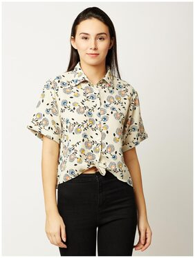 Miss Chase Women's Multicolored Round Neck Short Sleeve Printed Buttoned High Low Knotted Crop Shirt