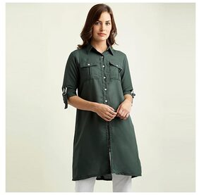 Miss Chase Women's Green Round Neck Rolled Up Full Sleeve Solid Knee-Long Buttoned Shirt
