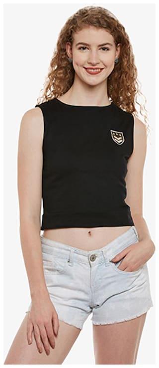 Miss Chase Women Solid Regular top - Black