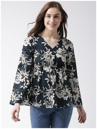 Miss Chase Women Printed A-line top - Black