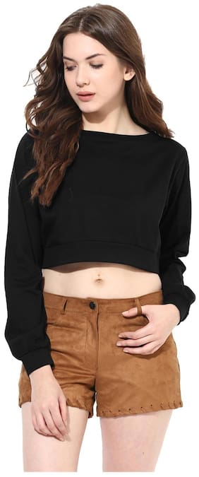 Miss Chase Women's Black Round Neck Full Sleeves Oversized Boxy Crop Top