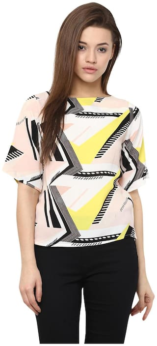 Miss Chase Women's Multicolored Boat Neck Half Sleeves Abstract Boxy Top