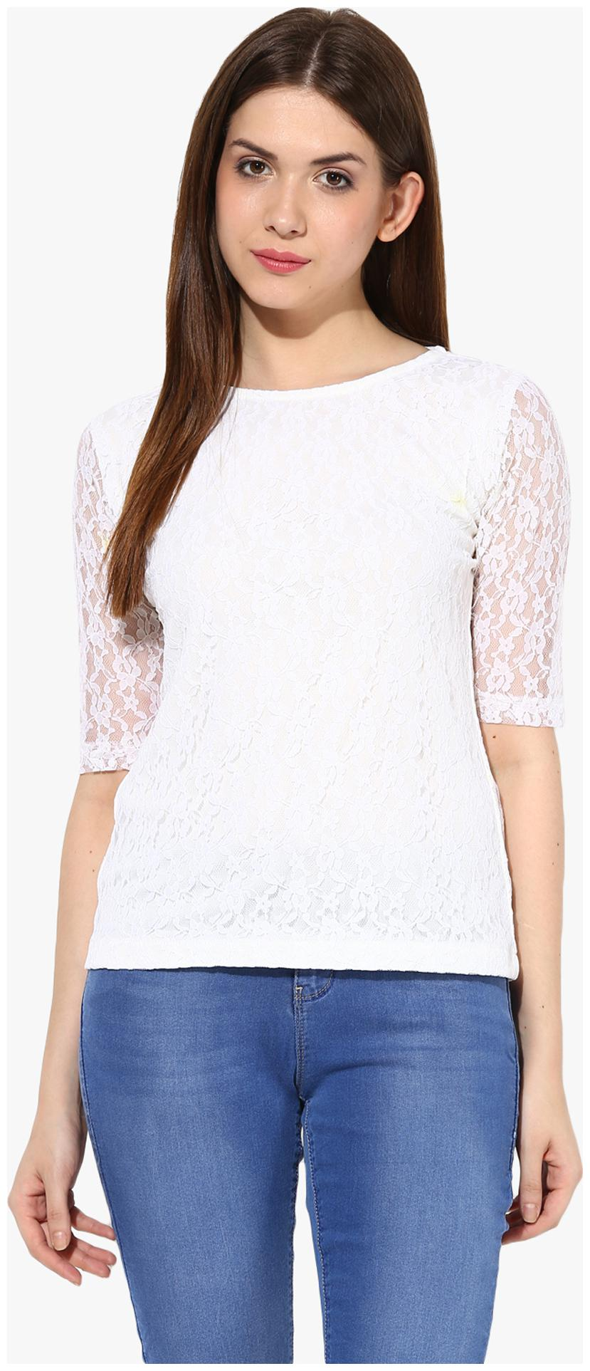 Miss Chase Women's White Round Neck 3/4th Sleeves Lace Top by Miss Chase