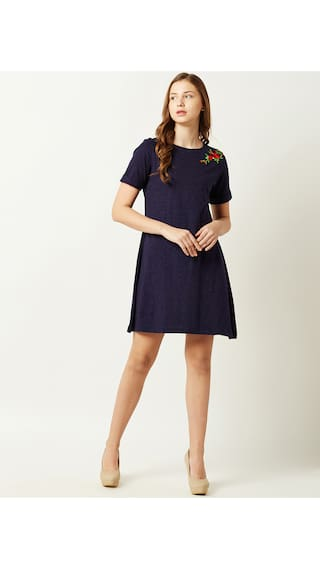 Mini Miss A Dress Floral Chase Sleeve Round Solid Line Women's Navy Embroidered Blue Neck Short qrqPwUf7
