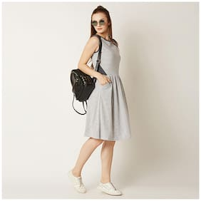 Miss Chase Women's Grey And White Round Neck Sleeveless Striped Knee-Long Gathered Panelled Skater Dress