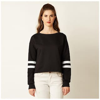 Miss Chase Women's Black Round Neck Full Sleeve Solid Panelled Boxy Top