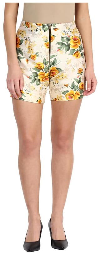 Miss Chase Women's Multicolored Mid Rise Floral Printed Slim Fit Shorts