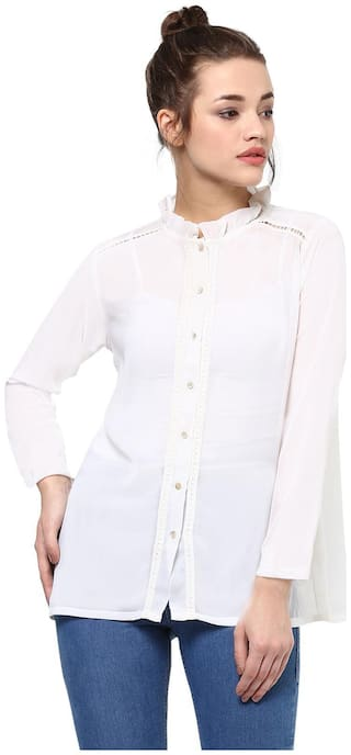 Miss Chase Women White Solid Regular Fit Shirt