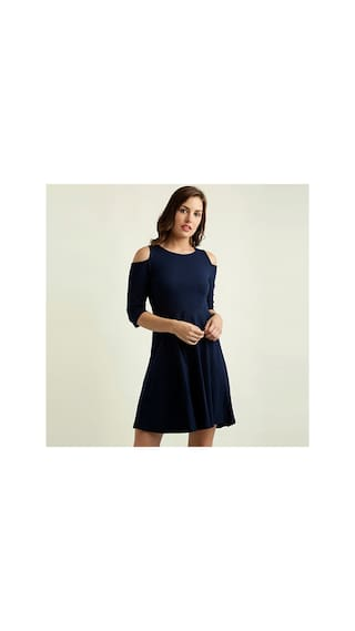 Miss Chase Women's Navy Blue Round Neck 3/4 Sleeves Solid Knee-Long Cold Shoulder Skater Dress