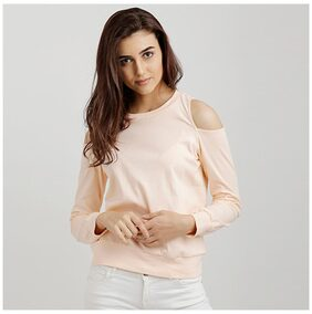 Miss Chase Women's Peach Round Neck Full Sleeve Solid Cold Shoulder Boxy Cut-Out Top