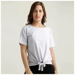 Miss Chase Women Solid A-line top - Grey