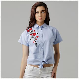 Miss Chase Women's Blue Solid Embroidered Tie-Up Round Neck Half Sleeve Boxy Shirt