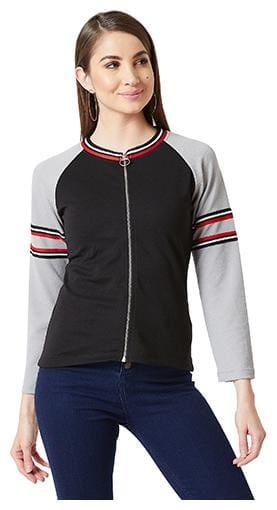 Miss Chase Women Solid Regular Jacket - Black