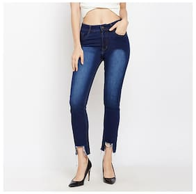 Miss Chase Women's Blue Regular Fit High Rise Cropped High-Low Hemline Denim Jeans