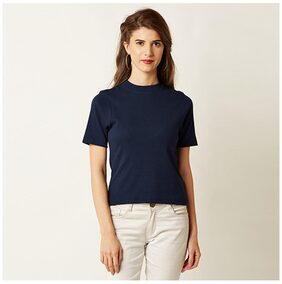 Miss Chase Women's Navy Blue Round Neck Short Sleeves Solid Ribbed Top
