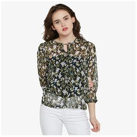 Miss Chase Women's Multicoloured Round Neck Full Sleeve Tie-up Floral Top
